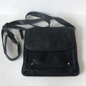 Cole Haan black leather moto crossbody purse bag
